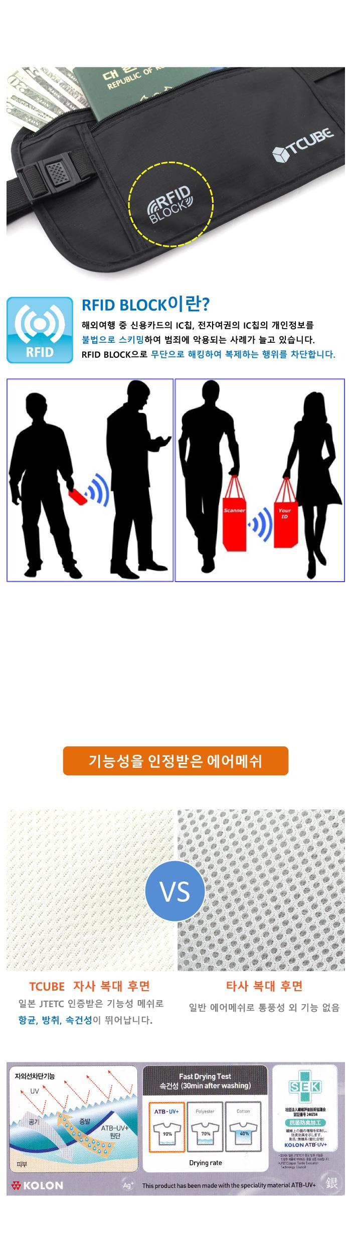 RFID 개인정보 해킹방지_소매치기방지 안전복대-아이보리 - 티큐브, 22,000원, 토트/힙색/허리색, 토트/힙색/허리색
