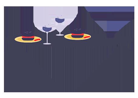 식탁위에 유기와 다른 식기의 이미지
