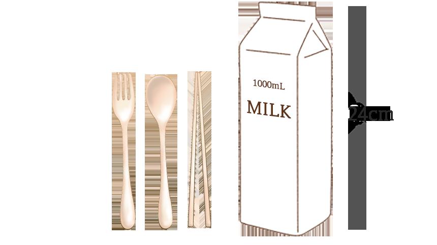 1000ml 우유와 커트러리 크기비교 사진
