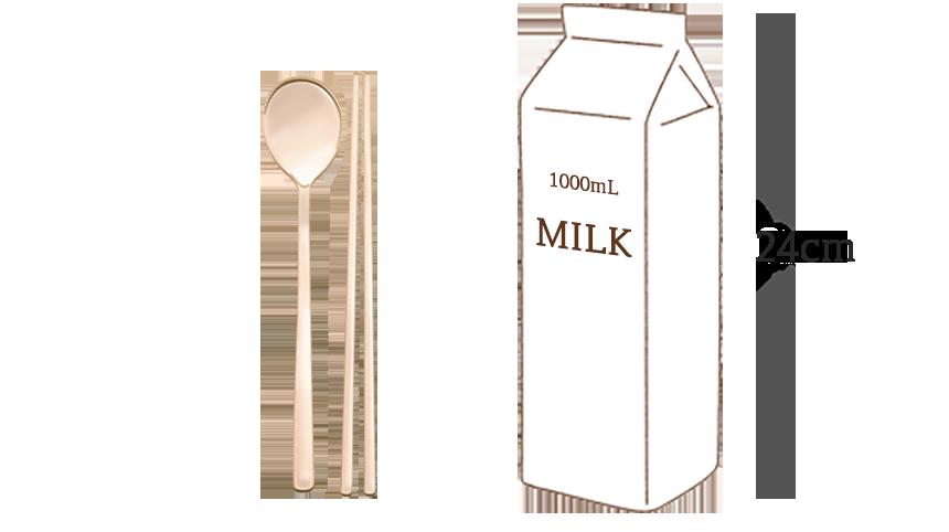 1000ml 우유와 방짜유기 수저세트 크기비교 사진